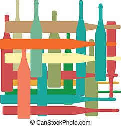 Antecedentes con botellas de color