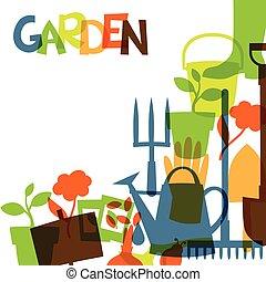 Antecedentes con elementos de diseño de jardín y iconos