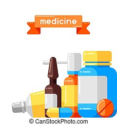 Antecedentes con frascos de medicina y pastillas.