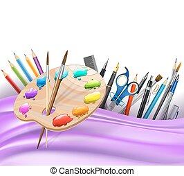 Antecedentes con líneas onduladas y lápices de colores, paleta de arte, pinceles, bolígrafos. Vector