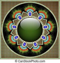 Antecedentes con piedras preciosas, patrón en forma de gla