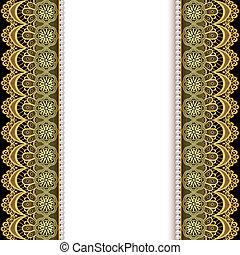 Antecedentes con rayas de encaje dorado y perlas