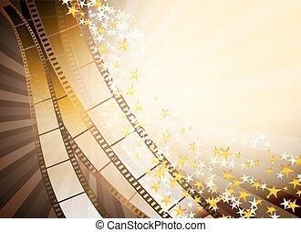 Antecedentes con retro cinematografía y estrellas doradas
