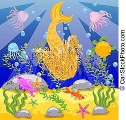 Antecedentes con un mundo submarino al estilo de los niños. Una sirena está sentada en una roca.