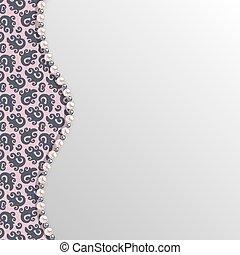 Antecedentes con un patrón de encaje negro y una frontera de perlas. La plantilla del vector.