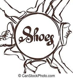Antecedentes con zapatos. Ilustración a mano calzado femenino, botas y tacones de aguja