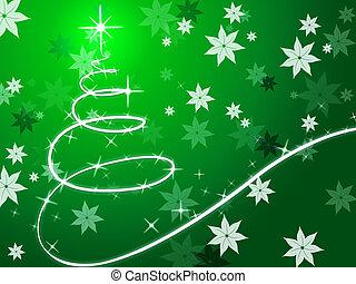 Antecedentes de árboles de Navidad verdes muestran diciembre y flores