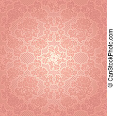 Antecedentes de encaje, adornos de flores rosas