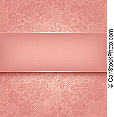 Antecedentes de encaje, papel de flores rosa adornado.