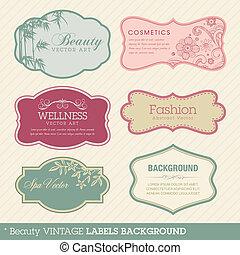 Antecedentes de etiquetas de belleza
