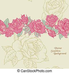 Antecedentes de flores inservibles - rosas dibujadas a mano en vector