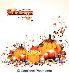 Antecedentes de Halloween con calabazas