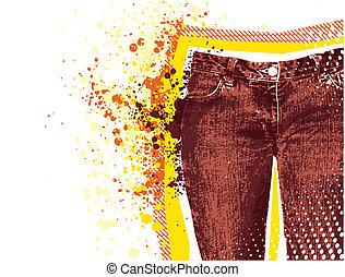 Antecedentes de Jeans. Vector grunge denim