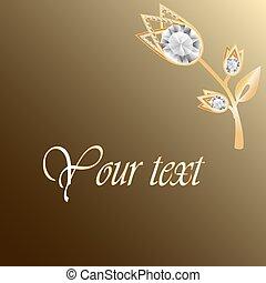 Antecedentes de joyas de oro con broche de diamantes. Flor de joyas. Decoración floral de joyas. Puede usar tarjetas de felicitación o plantilla de invitación o tu diseño. Ilustración de vectores