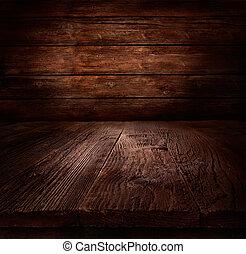 Antecedentes de madera, mesa con pared de madera