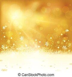 Antecedentes de Navidad dorados con luces y copos de nieve