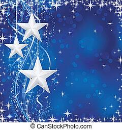 Antecedentes de Navidad e invierno con estrellas, copos de nieve y líneas onduladas de fondo azul con puntos luminosos para sus festivos ocasiones. Sin transparencias.