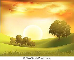 Antecedentes de paisajes vector Sunset