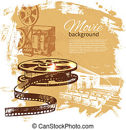 Antecedentes de película con ilustraciones dibujadas a mano