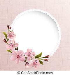 Antecedentes de primavera con flores de cereza rosadas