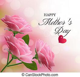 Antecedentes de vacaciones con hermosas flores rosas. Día de la madre. Vector.