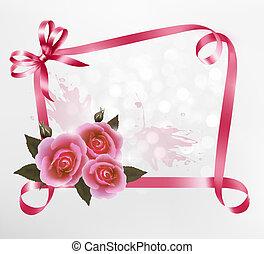 Antecedentes de vacaciones con rosas y cintas. Ilustración del vector.