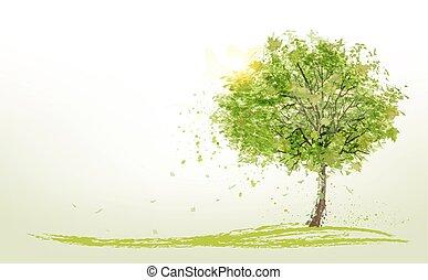 Antecedentes de verano con árboles verdes. Vector.