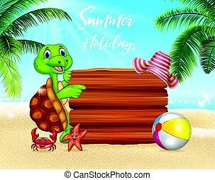Antecedentes de verano con tortuga y signo en blanco