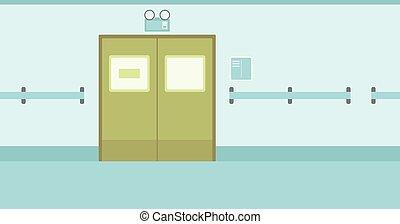 Antecedentes del pasillo del hospital con puertas cerradas.