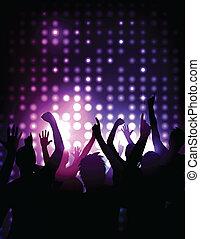 Antecedentes del vector, animando a la multitud en un concierto