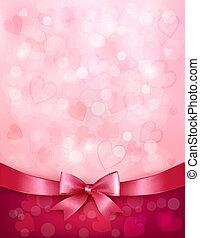 Antecedentes festivos con arco rosado regalo y cinta. Día de San Valentín. Vector