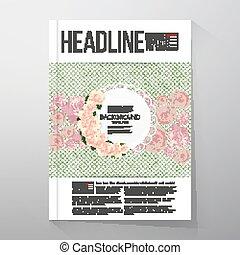 Antecedentes florales con lugar para textos y flores rosas sobre el fondo de puntos verdes. Brochure o vector de vuelo