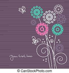 Antecedentes florales con mariposas de dibujos animados