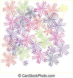 Antecedentes florales en cuadro en blanco
