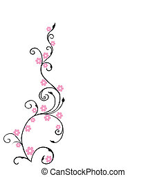Antecedentes florales, follaje con flores rosas