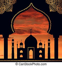 Antecedentes islámicos. Mosco, Arco. Cielo de Sol. Naranja