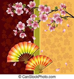 Antecedentes japoneses con cerezos y fans