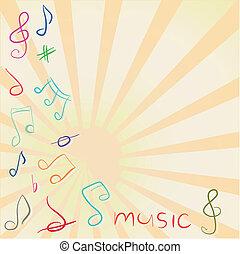 Antecedentes musicales con pinzas y notas