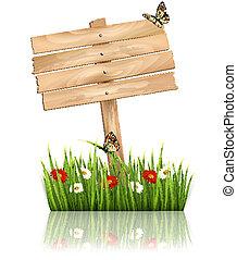 Antecedentes naturales con hierba verde y flores y signo de madera Vector.