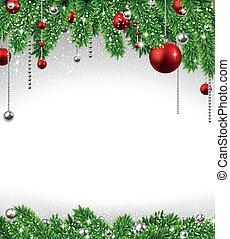 Antecedentes navideños con ramas y pelotas.