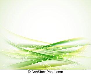 Antecedentes ondulados horizontes verdes abstractos y brillantes elementos de diseño