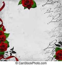 Antecedentes romanos con rosas rojas y amor por texto (1