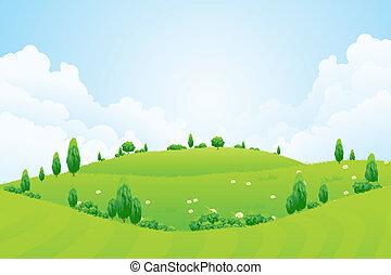 Antecedentes verdes con árboles de hierba flores y colinas