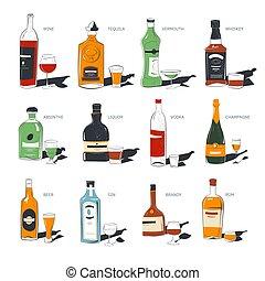 anteojos, bebidas alcohólicas, tiros, botellas
