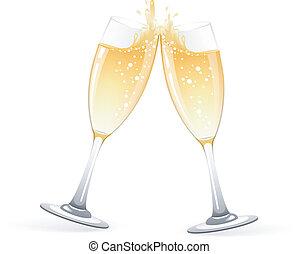 anteojos, champaña