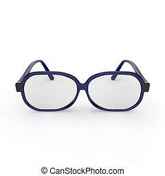 Anteojos con marco de plástico azul en fondo blanco y aislado