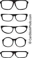 anteojos, negro, grueso, conjunto, vector