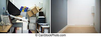 antes, declutter, después, espacio desordenado