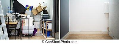 antes, después, desordenado, declutter, habitación