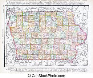 Anticuado mapa de color de iowa, Estados Unidos